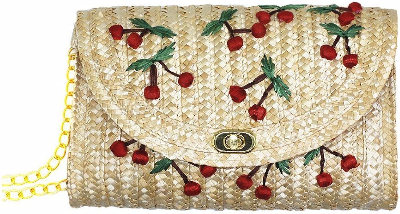 TANG SONG Straw Crossbody Crochet Shoulder Bag Summer Beach Purse and Handbags(Cherry)