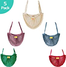 Reusable/Washable Cotton Mesh String Bag Portable Shopping Hand bag Ultra Long Handle Net Tote, Produce Bag Net Grocery Bags for Fruit, Vegetable, Farmers Market, Beach Trip & Toys Organic Organizer