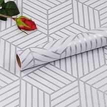 Hode Zelfklevende Behang Meubelsticker Zeshoek Zilveren Strepen Geometrische Zijwand Papier Peel en Stick Vinyl Film Roll ...