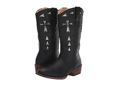 Roper Glitter Cross Flextra (Vintage Black Faux Leather/Glitter Underlay) Cowboy Boots