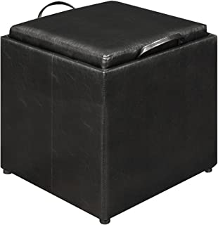Convenience Concepts Designs4Comfort Park Avenue Single Ottoman with Stool, Black