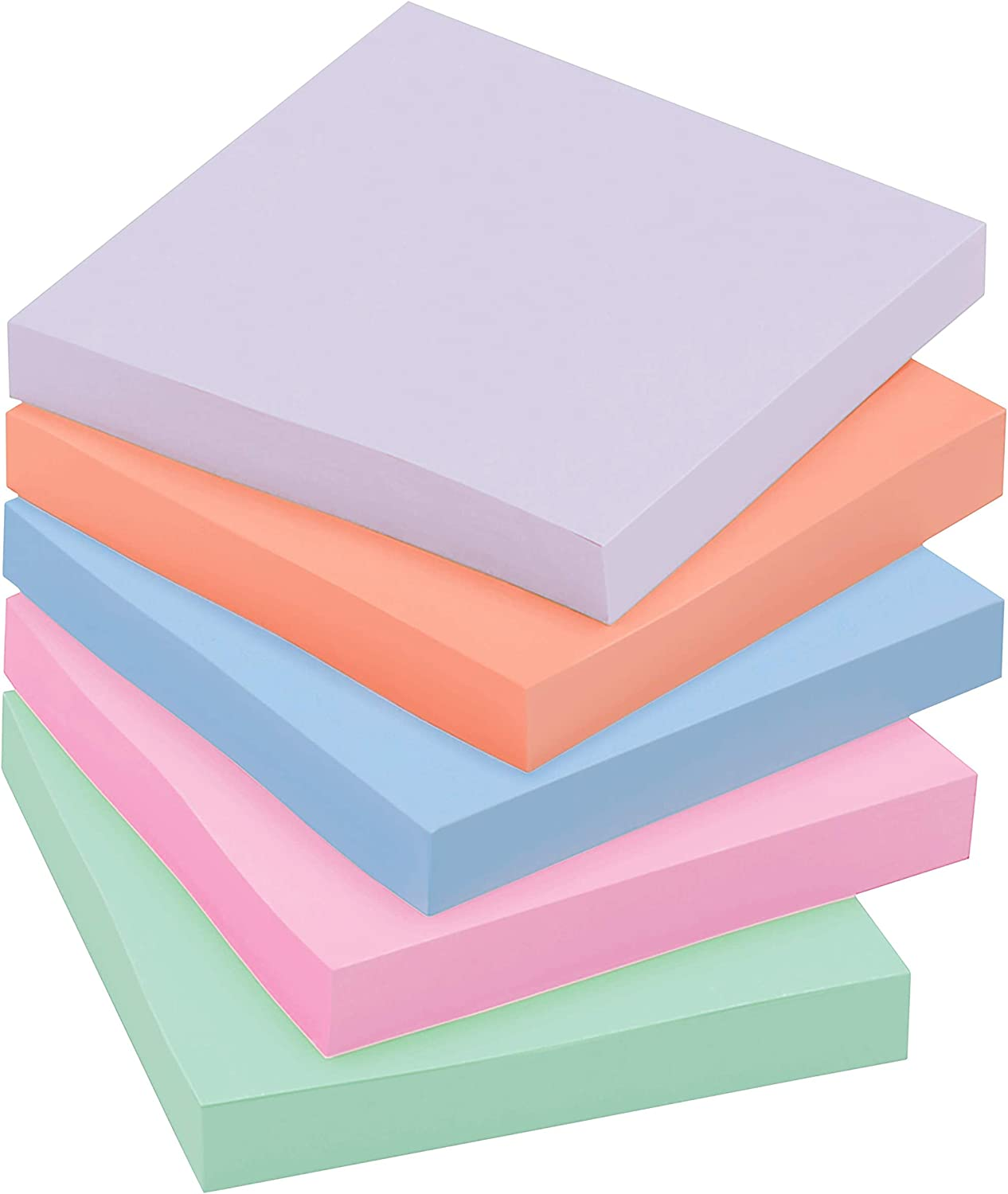 Sticky Recycled Notes Pastel Colors 3 in x 3 in 5 Pads Bali Collection 30/% Recycled Paper 2X The Sticking Power 654-5SSNRP - 1 Lavender, Apricot, Blue, Pink, Mint