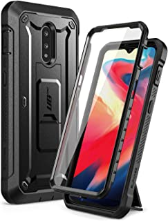 SUPCASE Unicorn Beetle Pro Series Case for OnePlus 7/6T, Full-Body Rugged Holster Kickstand OnePlus 7/6T Case with Built-in Screen Protector (Black)