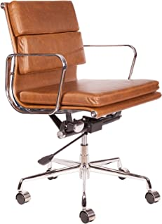 lazyBuddy Vintage Premium Caramel Brown PU Leather Soft Pad Executive Management Office Replica Chair Swivel and Polished Aluminium Frame - Low Back