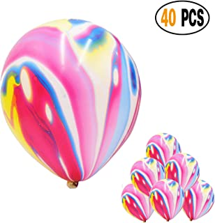 Mayen 40 Pcs 12 Inches Rainbow Agate Marble Latex Balloons, Tie Dye Swirl Balloons Helium Balloons for Birthday Party Decorations