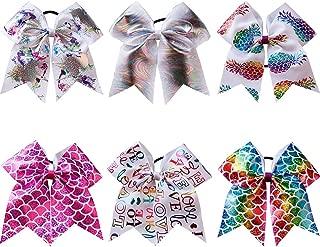 CN Girls Large Cheerleading Hair Bows Ponytail Holder Elastic Hair Ties Pony Tail Holder Elastic Head Loop For Cheerleading Girls Pack of 6