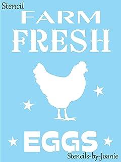 """Joanie 9"""" x 12"""" Stencil Farm Fresh Eggs Chicken Hen Liberty Stars Ranch Farmhouse Signs"""