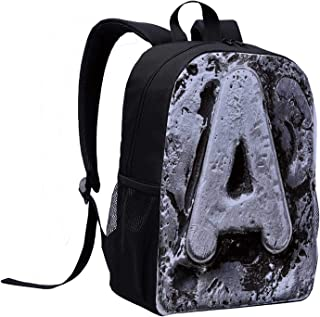 Letter A Canvas Backpack,Vintage Featured A Letter My Name Old Motley Effects Artisan Typography Background Decorative for Playgrounds,12″L x 5″W x 17″H