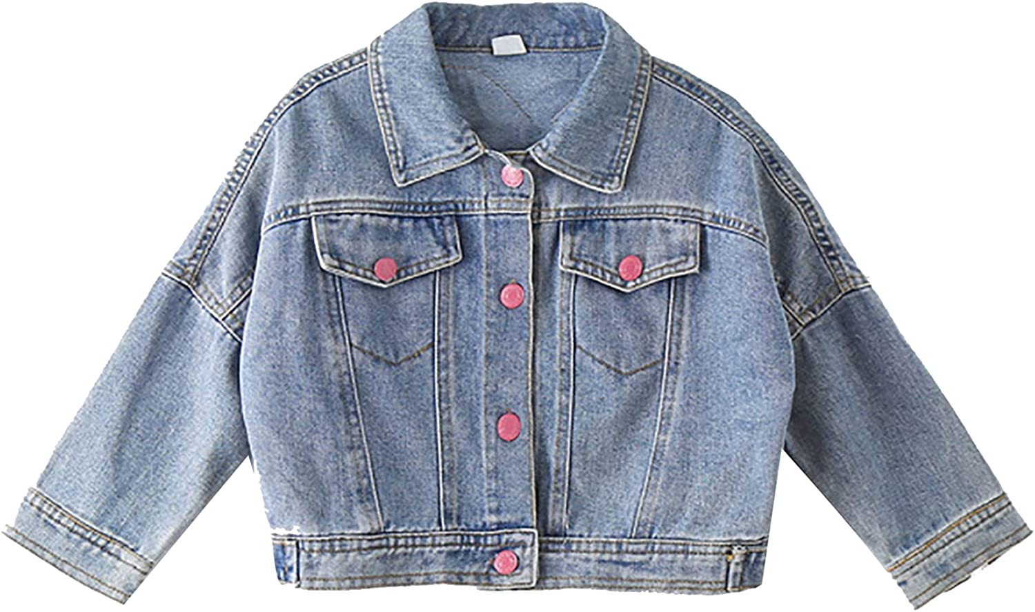 LiiYii Kis Girls Casual Long Sleeves Denim Jacket Lapel Sequin Cat Printed Button Down Jean Coat with Flap Pockets