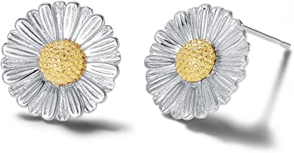 Carleen 14k Yellow Gold Plated 925 Sterling Silver Dainty Tiny Statement CZ Cubic Zirconia Daisy Sun Flower/Cactus/Pineapple Small Stud Earrings Jewelry for Women Girls