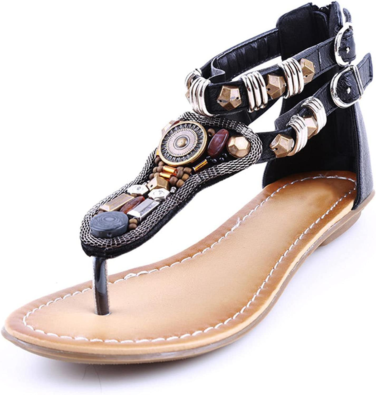Summer Vintage Rome Sandal Women Bohemian Beading Flat Sandals Zip Open Toe Rome shoes for Girl shoes size