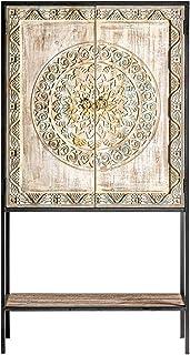 - Mueble Auxiliar - Aparadores Estilo Oriental - Vitrina/Alacena Jaipur Hierro/Madera 2 Puertas (80x35x150)
