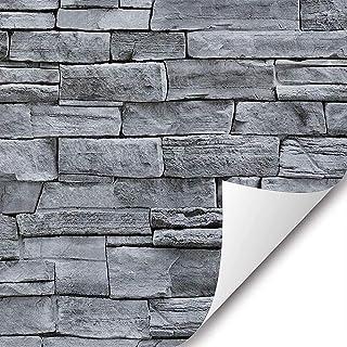"LJHSZ 1Pcs 17.71"" Wide x236"" Long Peel and 3D Stick Wallpaper Stone Self Adhesive Wallpaper Easily Removable Wallpaper Bri..."