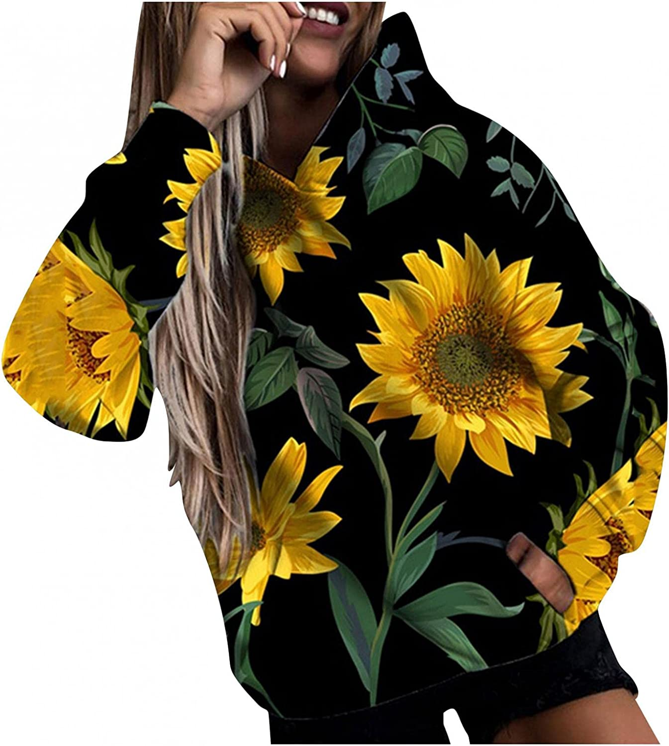 Qisemi Hooded Sweatshirts for Women Sweat Floral Fashion Ranking TOP19 Super special price Graphic