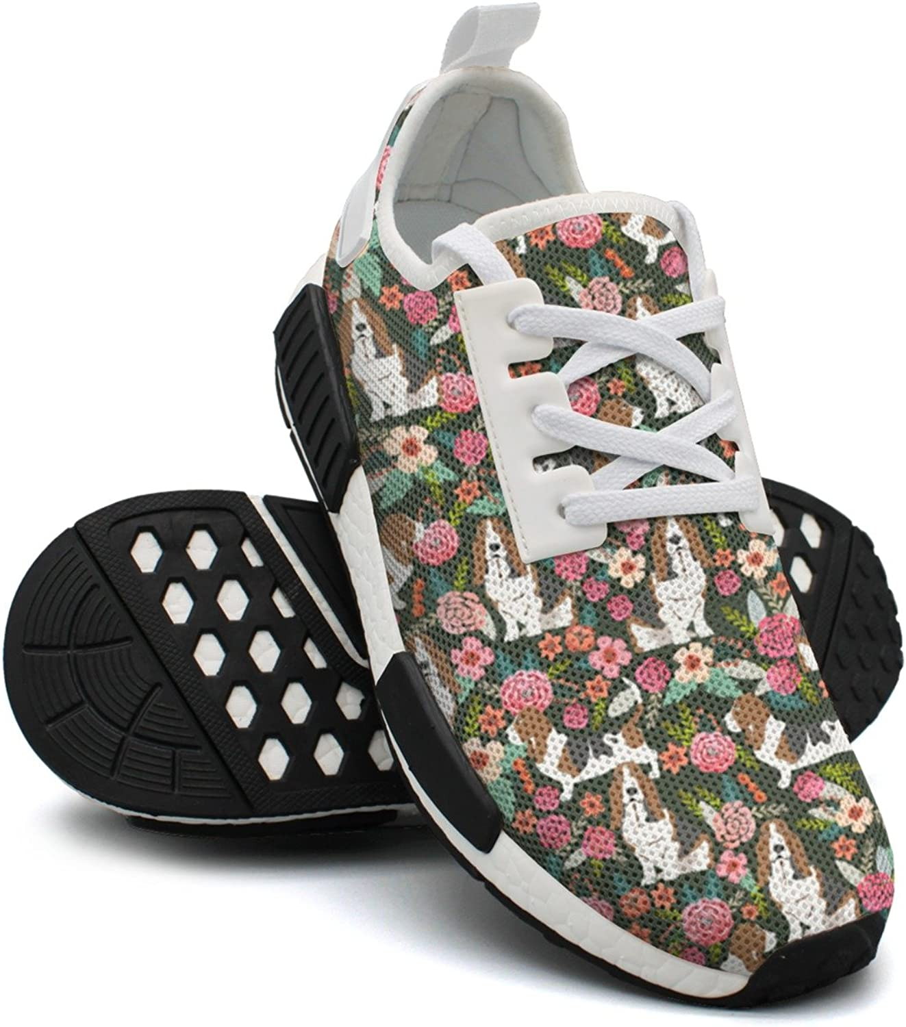 Basset Hound Floral Dog Women's Hip Hop Lightweight Sneakers Gym Outdoor Sports shoes