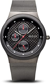 Time 32139-309 Mens Ceramic Collection Watch with Mesh Band and Scratch Resistant Sapphire Crystal. Designed in Denmark.