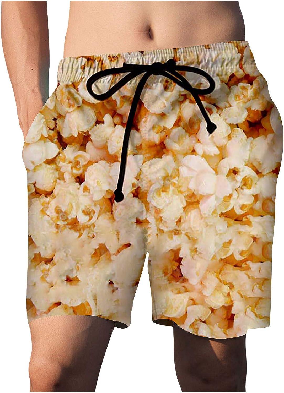 ZCAITIANYA Men's Swim Trunks Beach Printed Drawstring Fit Elastic Waist Pocket