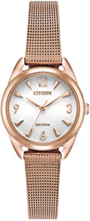Women's Drive Quartz Stainless Steel Strap, Rose Gold, 12 Casual Watch (Model: EM0683-55A)