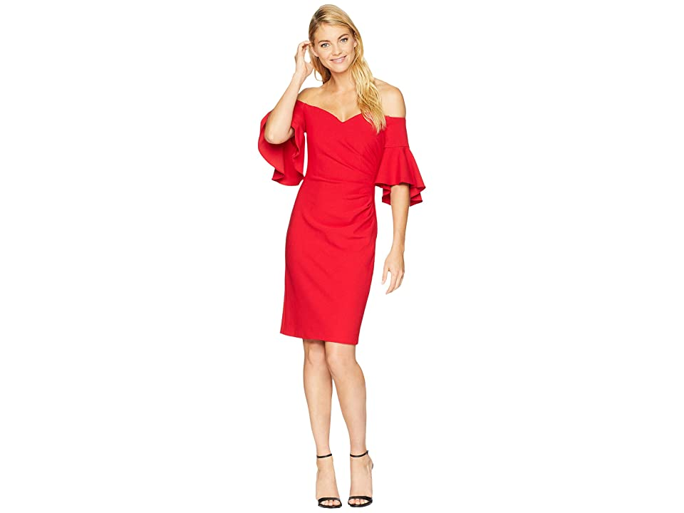 Calvin Klein Off Shoulder Flutter Sleeve Sheath w/ Side Ruching CD8B18PQ (Red) Women