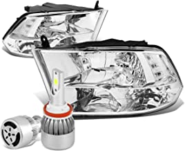 For Dodge Ram 4th Gen Pair of Chrome Housing Clear Corner Quad Headlight + H8 LED Conversion Kit W/Fan