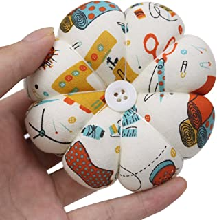 Wearable Wrist Pin Cushions for Sewing and Quilting Cute Blossom Needles Pincushions Wrist Pin Holder for Handy Needlework DIY Craft, Style Pumpkin (Color 1)