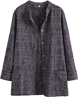 Mallimoda Damen Leinenblusen Cardigan Strickjacke Button-Down Langarmshirt Kurzmantel mit Taschen