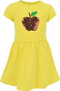 Girls Back to School Sequins Apple Dress Outfit