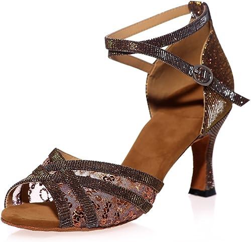 Elobaby Chaussures De Danse pour Femmes Slip on Prom Latin Sandales Talon Super Jazz 7.5cm Talon Robe   A8349