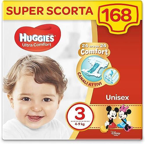 Huggies Pannolini Ultra Comfort, Taglia 3 (4-9 Kg), Confezione da 168 Pannolini