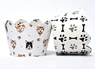 Dog Pet Party Cupcake Wrappers for Dog Parties, Pet Parties, Paw Print and Puppy Parties, and School Events. Set of 24 Reversible Canine pattern to Dog Bone and Paw Print Pattern Cup Cake Holder Wraps