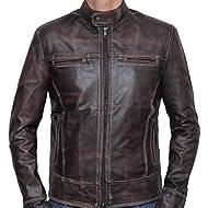 SID Mens Military Brown Tough... SID Mens Military Brown Tough Lambskin Leather Jacket, Biker Jacket
