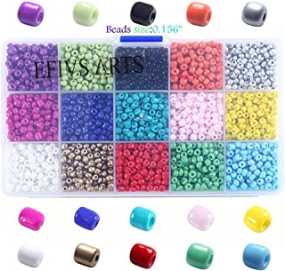 Efivs Arts 3200pcs Multicolor 4mm Mini Pony Seed Beads for DIY Bracelets,Necklaces, Key Chains and Kid Jewelry Bead Box Kit,J002