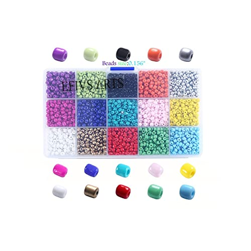 Efivs Arts 3200pcs Multicolor 6/0 4mm Seed Beads Mini Pony Beads Waist Beads for DIY Bracelets,Necklaces, Key Chains and Kid Jewelry Bead Box Kit,J002