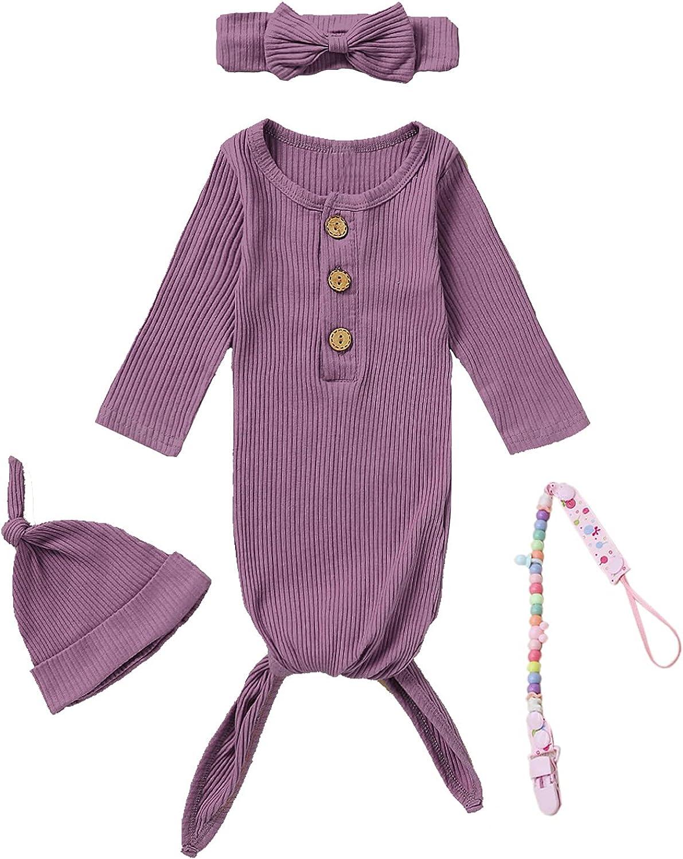 Dramiposs 4Pcs Newborn Girls Boys Nightgowns Infant Sleepwear Long Sleeve Outfit