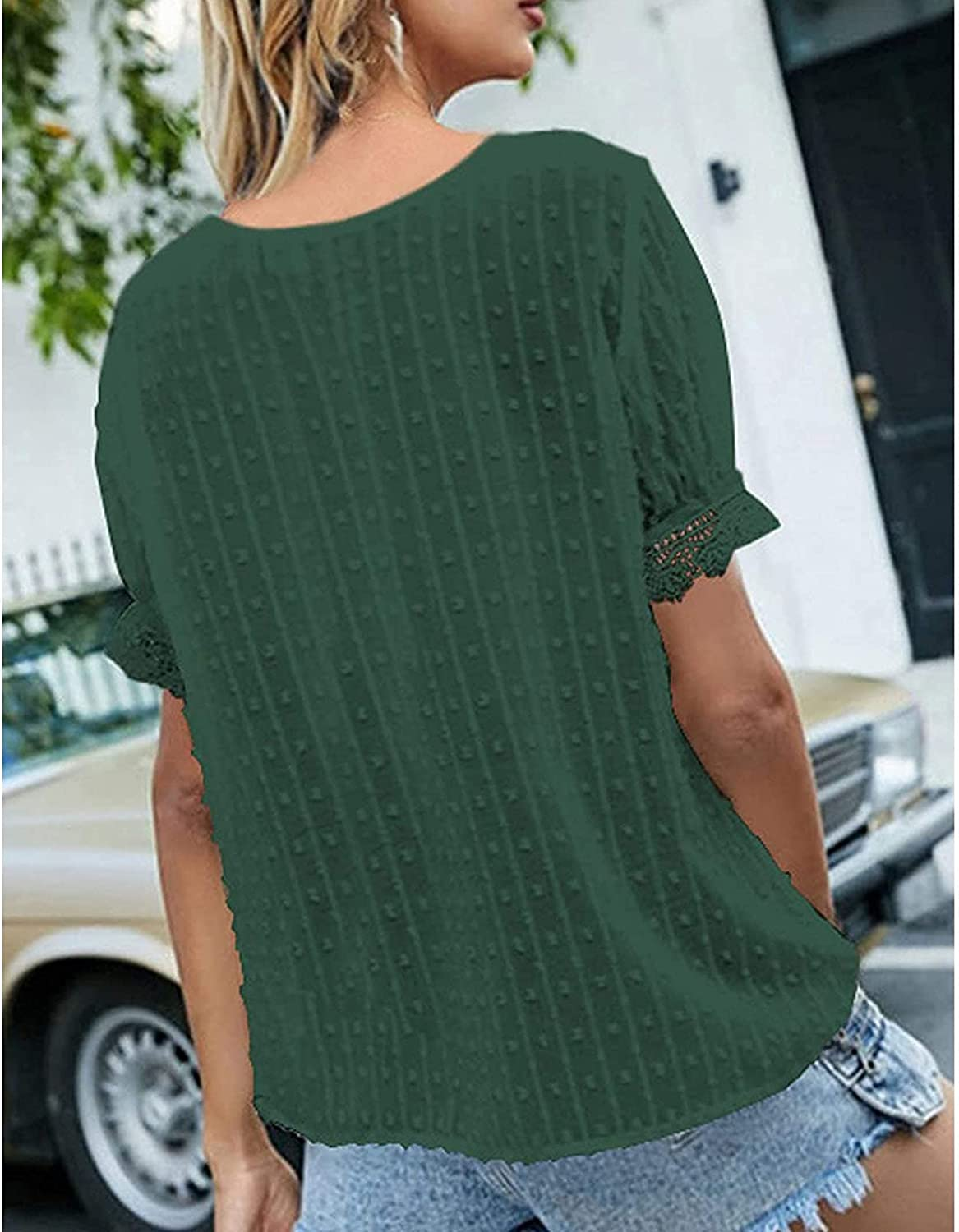Fashion V Neck Short Sleeve Tops for Women Solid Color Lace Casual Chiffon Trendy T-Shirts Work Daily Soft Touch Blouse