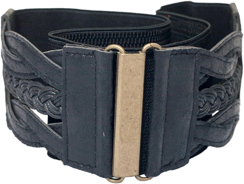 EVogues Plus Size Braided Elastic Leatherette Fashion Belt