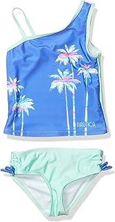 NAUTICA Girls Tankini Swim Suit with 50+ Sun Protection, Chevron Red, 4T