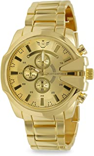 Hip Hop 14k Yellow Gold Plated Gold V-Cut Executive Classic Mens Watch