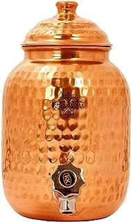 Indian Art Villa Hammered Copper Water Dispenser Container Pot Matka, Storage Water, 270 Oz