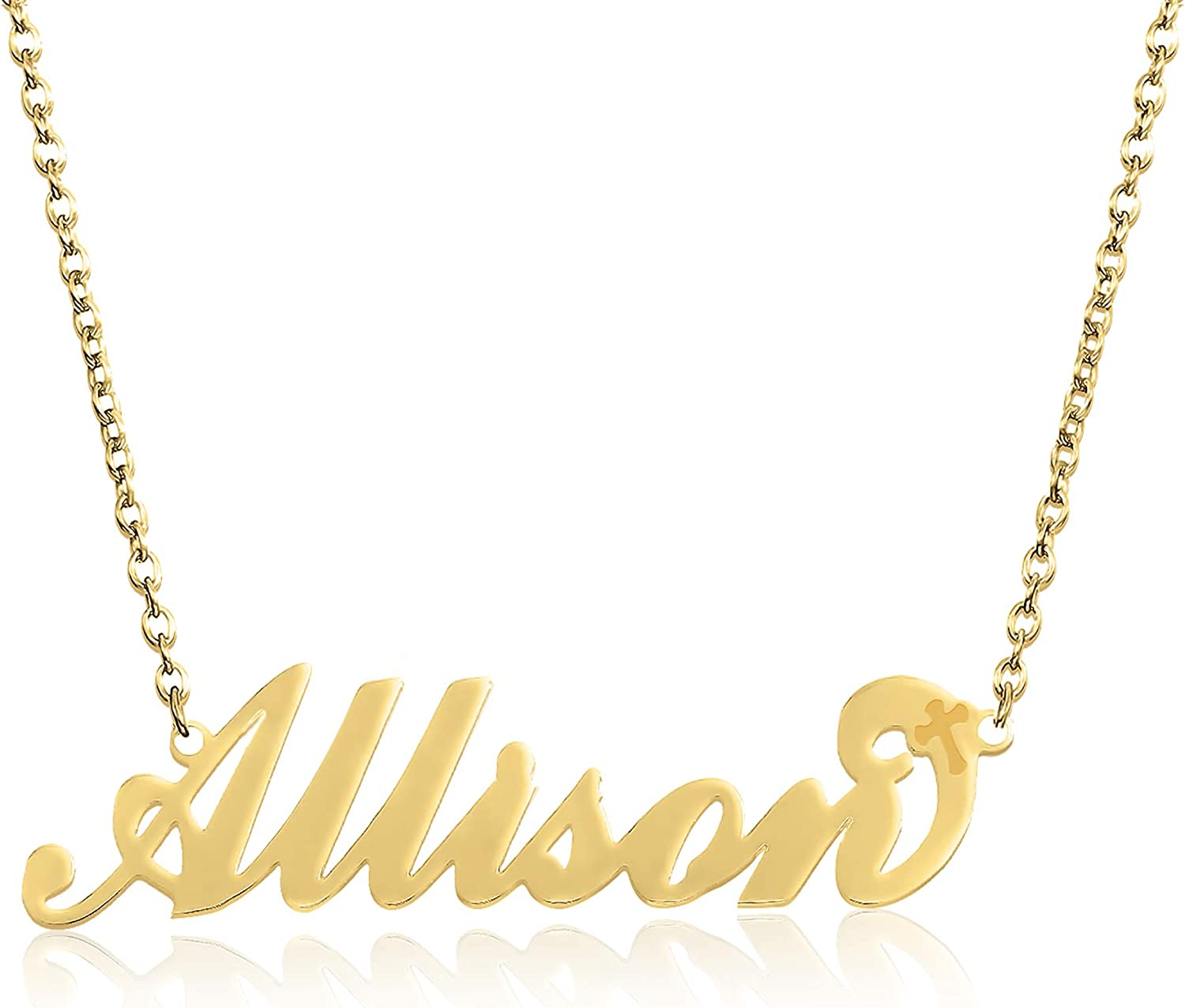 BeautyName Name Necklace Yellow Gold Stainless with Chain 17