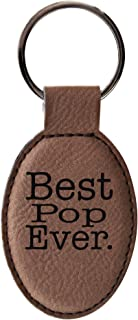 ThisWear Pop Gifts Best Pop Ever Keychain Pop Keytag for Father's Day Leather Oval Keychain Key Tag Brown