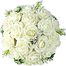 Febou Wedding Bridal Bouquet, Wedding Bride Bouquet, Wedding Holding Bouquet with Artificial Roses Lace Pearl Ribbon, Perfect for Wedding, Church, Party and Home Decor(Heart Pearl, White)