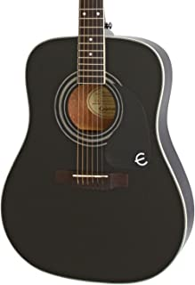 Epiphone Pro-1 Plus Solid Top Acoustic Guitar System for Beginners, Gloss Ebony Finish