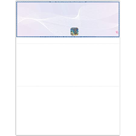EZ Checks Premium Blank Hologram High Security Laser Check Stock | 500 Sheets | QuickBooks Compatible (Blue/Maroon, Check at Top)
