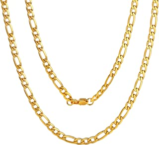 Mens NK 3:1 Figaro Chain Necklace-4/5/6/7.5/8/9/12/13MM Width, 18K Gold Plated/316L Stainless Steel/Black, 18-30