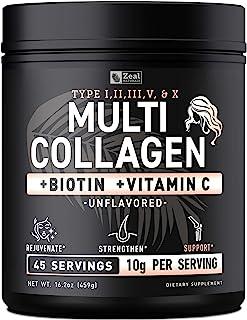 Premium Collagen Peptides Powder (1, 2, 3, 5 & 10) Multi Collagen Protein + Vitamin C + Biotin + Hyaluronic Acid - #1 Coll...