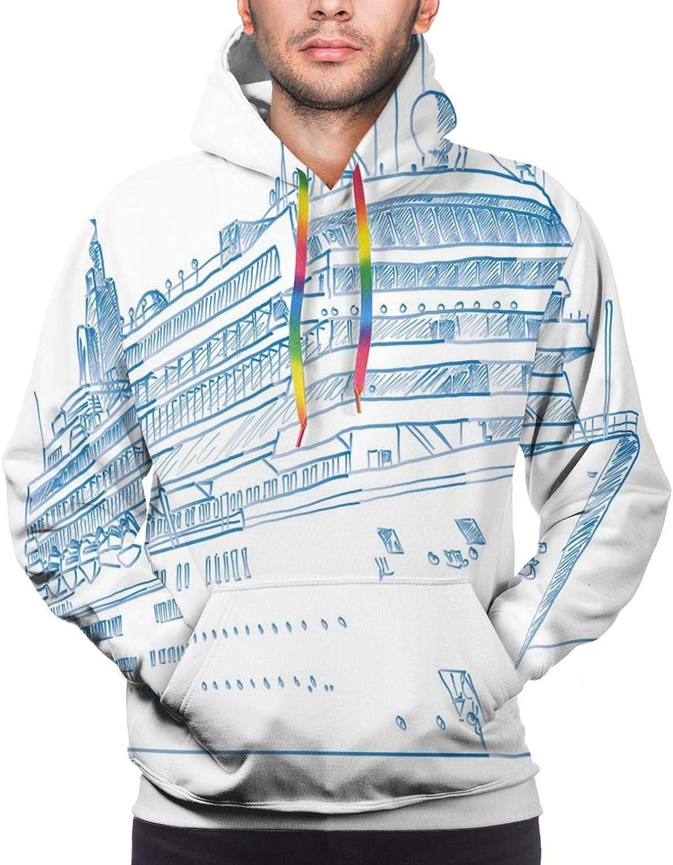 Men's Hoodies Sweatshirts,Hand Drawn Sketch Illustration with Splash Watercolor Heart I Love Wine Theme