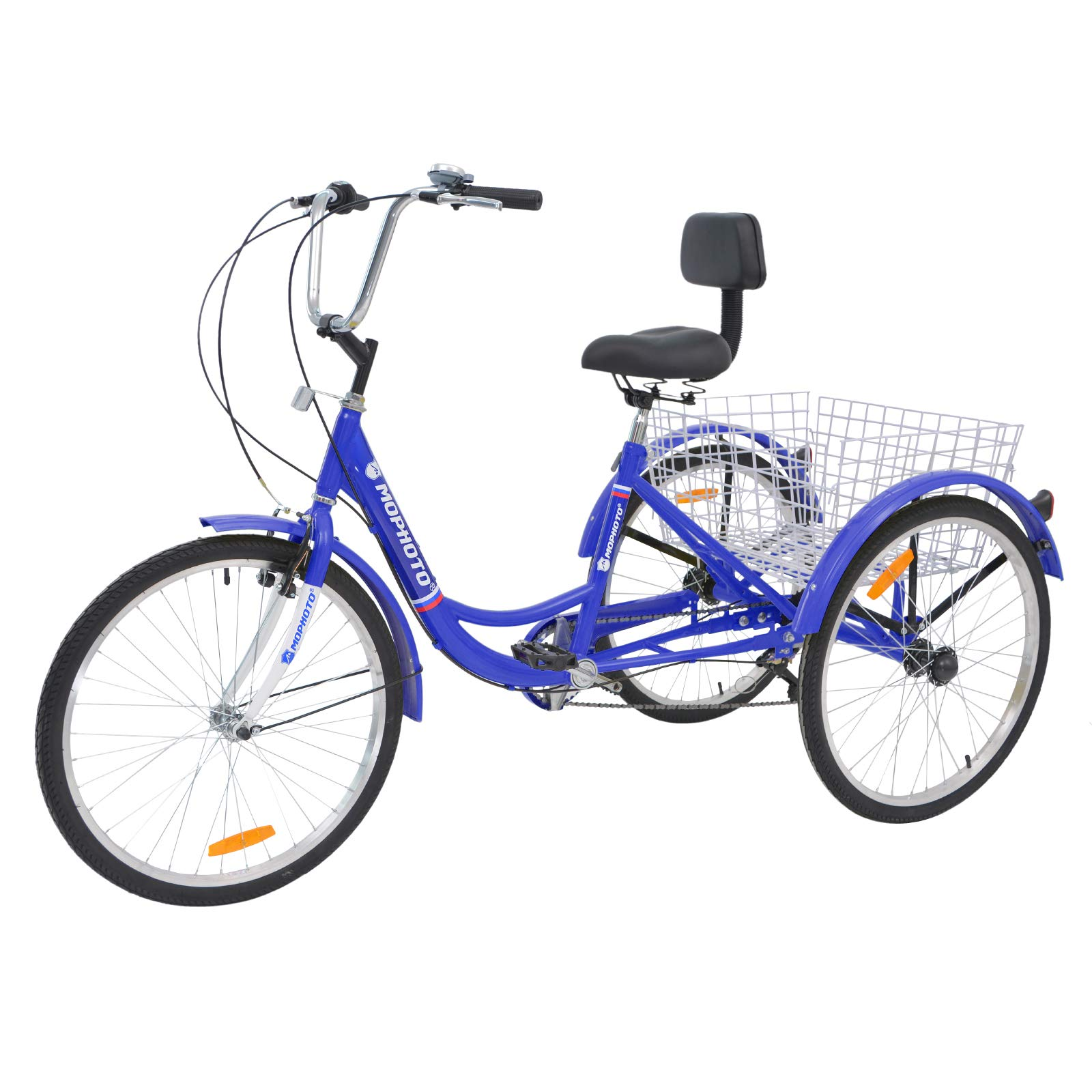 "MOPHOTO 24"" 7 Speed 3-Wheel Adult Tricycle Trike Cruiser Bike, Cargo Trike Cruiser Cycling Tricycle for Outdoor Sports"