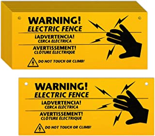 Blulu Electric Fence Warning Signs 10 x 4 Inch Plastic Electric Fence Safe Signs Caution Warning Sign for Danger Electric ...