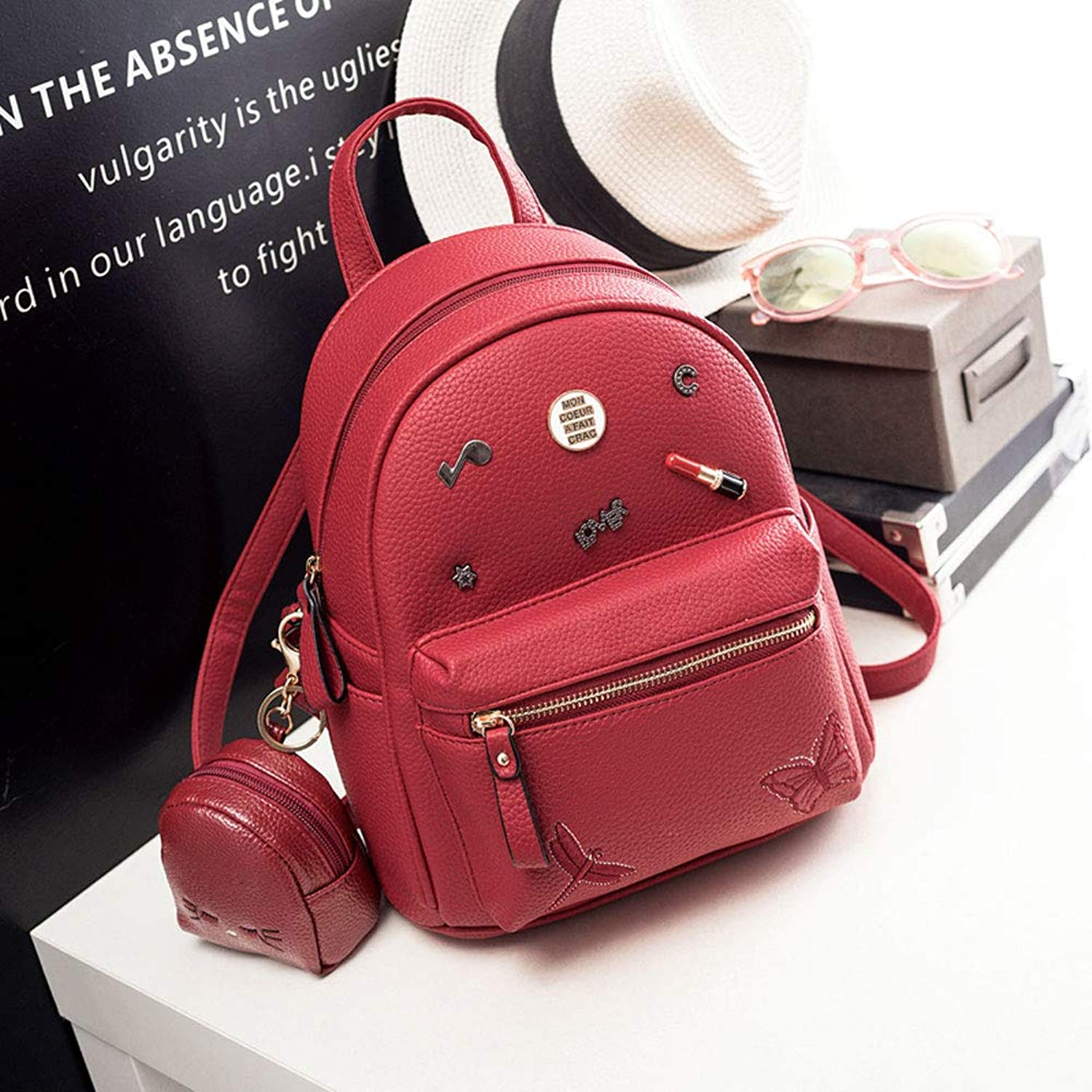 TRDyj Women's Backpack Korean Version of The Tide Casual Bag Fashion Wild Backpack Student Bag Backpack (color   RedSmall)